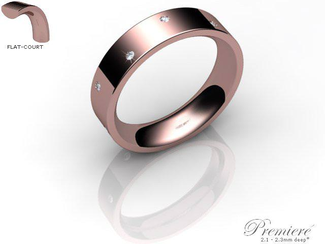 Men's Diamond Scatter 9ct. Rose Gold 5mm. Flat-Court Wedding Ring