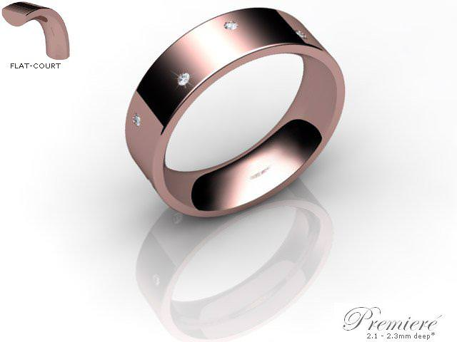 Men's Diamond Scatter 9ct. Rose Gold 6mm. Flat-Court Wedding Ring