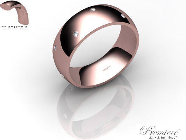 Men's Diamond Scatter 9ct. Rose Gold 7mm. Court Wedding Ring