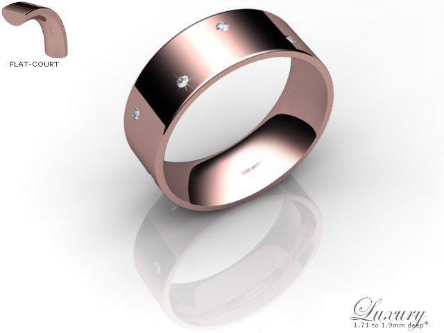 Men's Diamond Scatter 9ct. Rose Gold 7mm. Flat-Court Wedding Ring