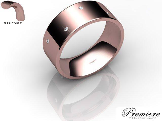 Men's Diamond Scatter 9ct. Rose Gold 8mm. Flat-Court Wedding Ring