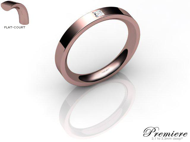 Men's Single Diamond 9ct. Rose Gold 3mm. Flat-Court Wedding Ring