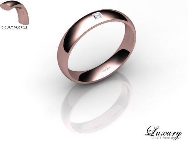 Women's Single Diamond 9ct. Rose Gold 4mm. Court Wedding Ring