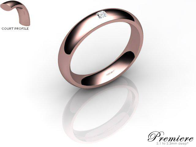 Men's Single Diamond 9ct. Rose Gold 4mm. Court Wedding Ring