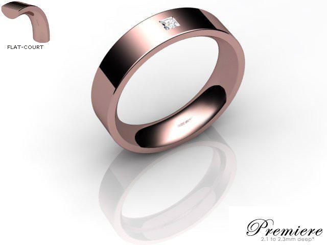 Men's Single Diamond 9ct. Rose Gold 5mm. Flat-Court Wedding Ring