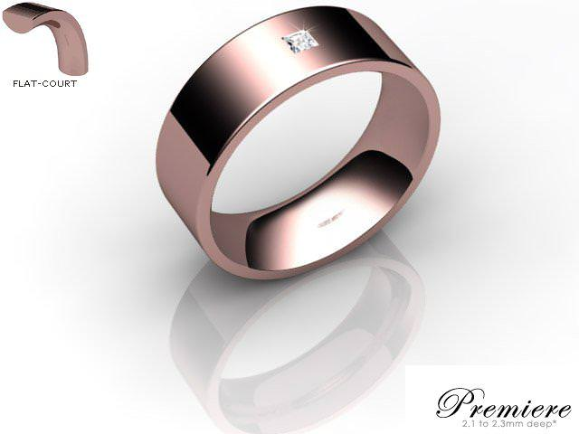 Men's Single Diamond 9ct. Rose Gold 7mm. Flat-Court Wedding Ring