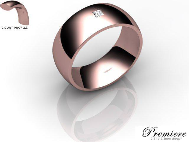 Men's Single Diamond 9ct. Rose Gold 8mm. Court Wedding Ring