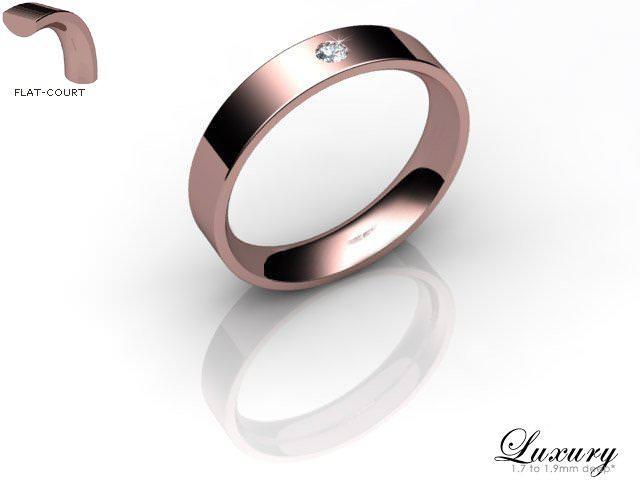 Women's Single Diamond 9ct. Rose Gold 4mm. Flat-Court Wedding Ring