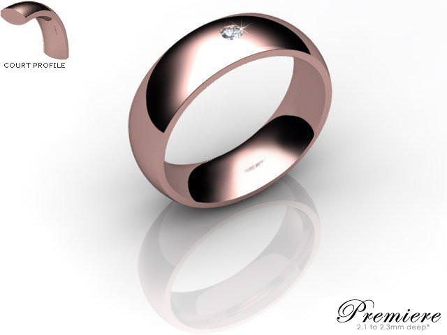 Men's Single Diamond 9ct. Rose Gold 6mm. Court Wedding Ring