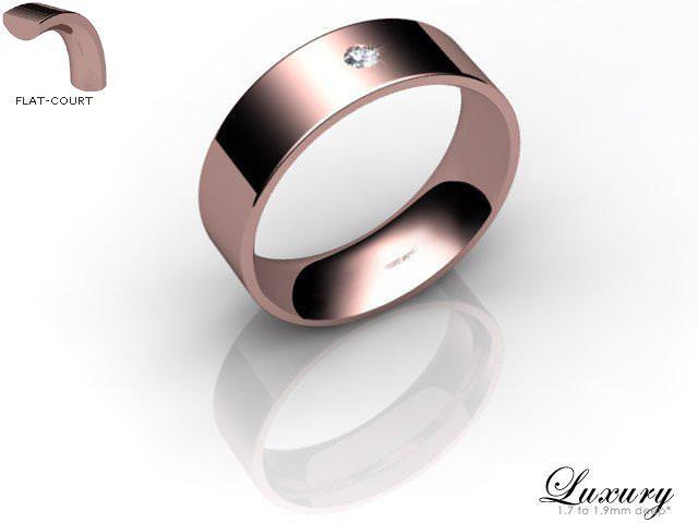 Men's Single Diamond 9ct. Rose Gold 6mm. Flat-Court Wedding Ring