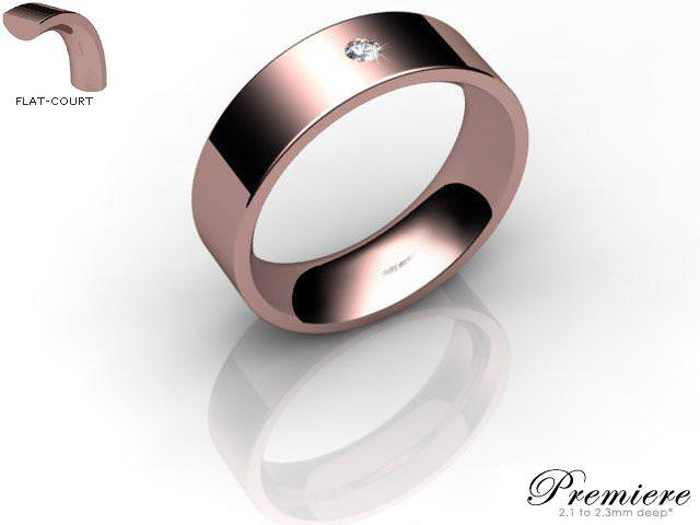 Men's Single Diamond 9ct. Rose Gold 6mm. Flat-Court Wedding Ring