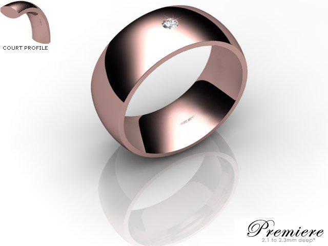 Men's Single Diamond 9ct. Rose Gold 8mm. Court Wedding Ring