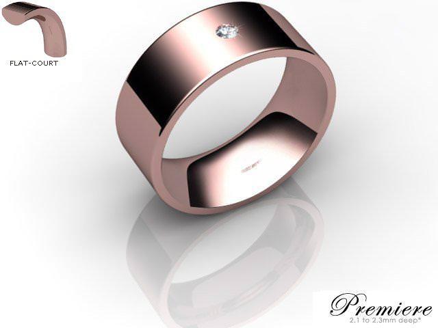Men's Single Diamond 9ct. Rose Gold 8mm. Flat-Court Wedding Ring
