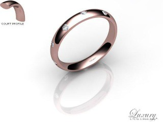 Men's Diamond Scatter 9ct. Rose Gold 3mm. Court Wedding Ring-9PG25D-3CHG
