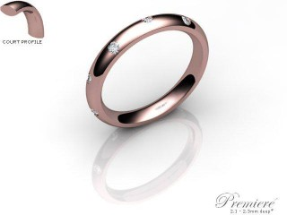 Men's Diamond Scatter 9ct. Rose Gold 3mm. Court Wedding Ring-9PG25D-3CXG