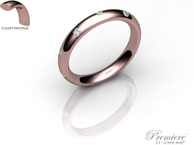 Men's Diamond Scatter 9ct. Rose Gold 3mm. Court Wedding Ring