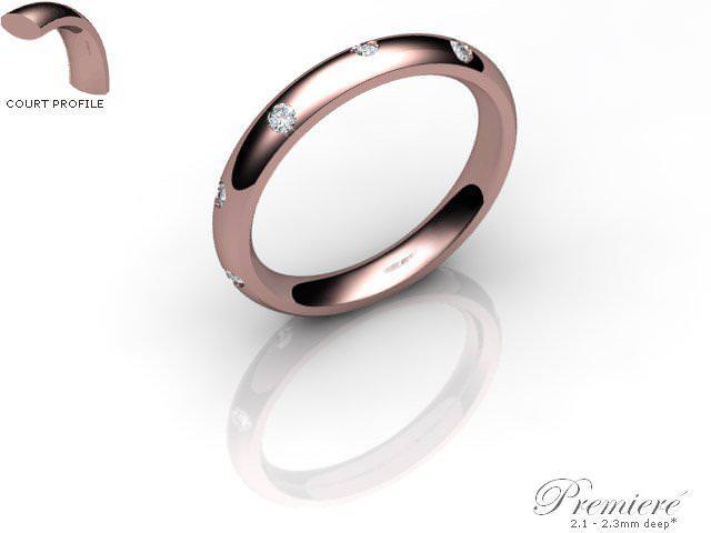 Women's Diamond Scatter 9ct. Rose Gold 3mm. Court Wedding Ring