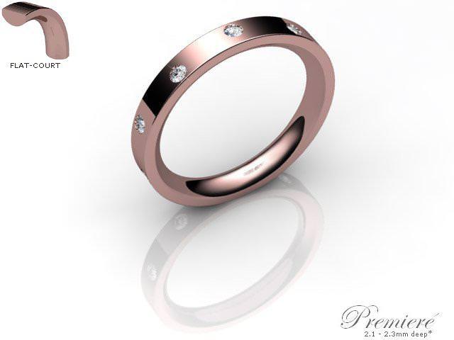 Men's Diamond Scatter 9ct. Rose Gold 3mm. Flat-Court Wedding Ring