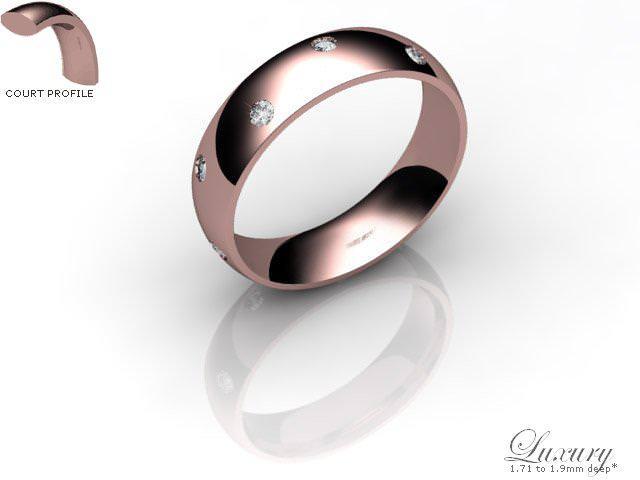 Men's Diamond Scatter 9ct. Rose Gold 5mm. Court Wedding Ring