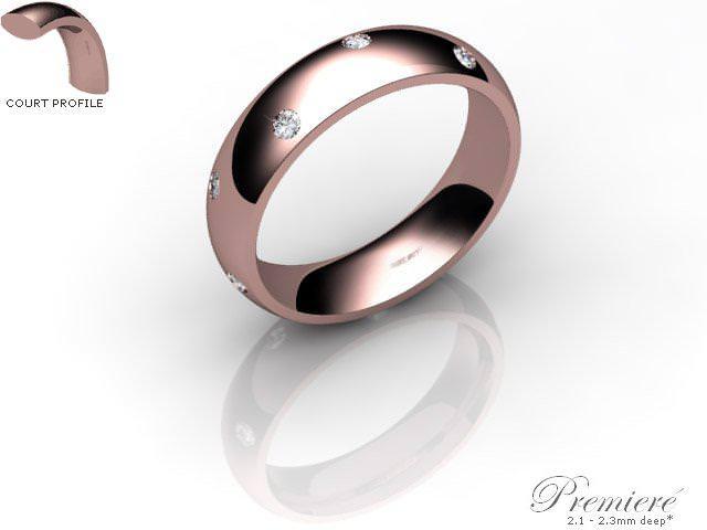Women's Diamond Scatter 9ct. Rose Gold 5mm. Court Wedding Ring