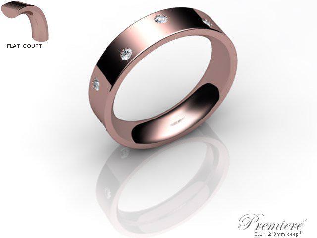 Men's Diamond Scatter 9ct. Rose Gold 5mm. Flat-Court Wedding Ring