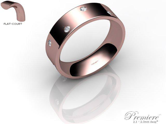 Men's Diamond Scatter 9ct. Rose Gold 6mm. Flat-Court Wedding Ring