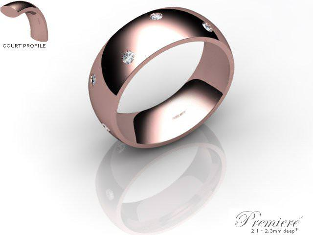 Men's Diamond Scatter 9ct. Rose Gold 7mm. Court Wedding Ring