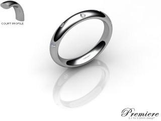 Men's Diamond Scatter 9ct. White Gold 3mm. Court Wedding Ring-9WG10D-3CXG