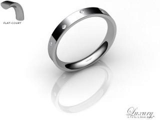 Women's Diamond Scatter 9ct. White Gold 3mm. Flat-Court Wedding Ring-9WG10D-3FCHL