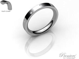 Women's Diamond Scatter 9ct. White Gold 3mm. Flat-Court Wedding Ring-9WG10D-3FCXL