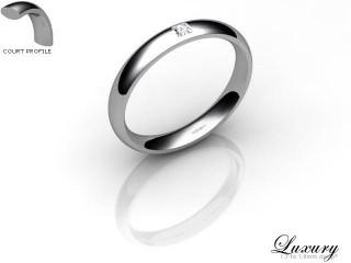 Women's Single Diamond 9ct. White Gold 3mm. Court Wedding Ring-9WG1XPD-3CHL