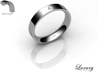 Women's Single Diamond 9ct. White Gold 4mm. Flat-Court Wedding Ring-9WG1XPD-4FCHL
