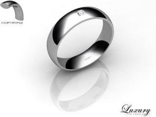 Women's Single Diamond 9ct. White Gold 5mm. Court Wedding Ring-9WG1XPD-5CHL