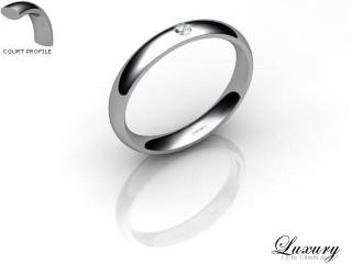 Women's Single Diamond 9ct. White Gold 3mm. Court Wedding Ring-9WG1XRD-3CHL