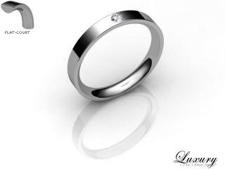 Women's Single Diamond 9ct. White Gold 3mm. Flat-Court Wedding Ring-9WG1XRD-3FCHL