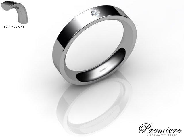 Men's Single Diamond 9ct. White Gold 4mm. Flat-Court Wedding Ring