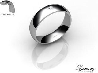 Women's Single Diamond 9ct. White Gold 5mm. Court Wedding Ring-9WG1XRD-5CHL