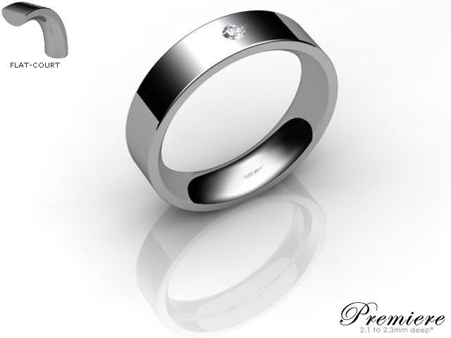 Men's Single Diamond 9ct. White Gold 5mm. Flat-Court Wedding Ring
