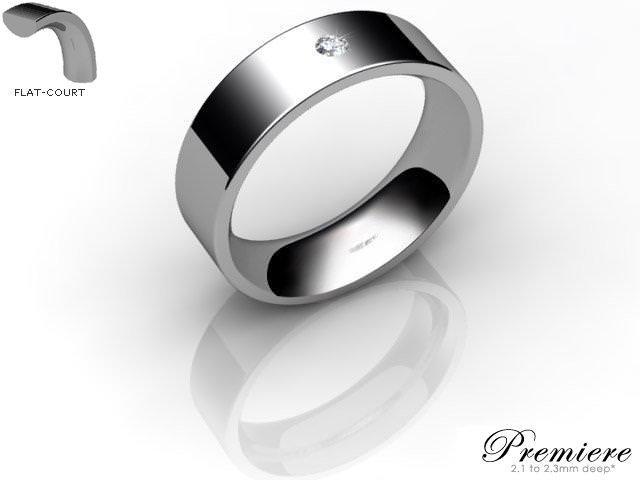Men's Single Diamond 9ct. White Gold 6mm. Flat-Court Wedding Ring