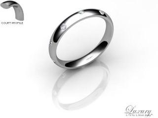 Men's Diamond Scatter 9ct. White Gold 3mm. Court Wedding Ring-9WG25D-3CHG