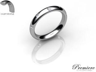 Men's Diamond Scatter 9ct. White Gold 3mm. Court Wedding Ring-9WG25D-3CXG
