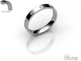 Women's Diamond Scatter 9ct. White Gold 3mm. Flat-Court Wedding Ring-9WG25D-3FCHL