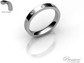 Men's Diamond Scatter 9ct. White Gold 3mm. Flat-Court Wedding Ring-9WG25D-3FCXG
