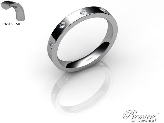 Men's Diamond Scatter 9ct. White Gold 3mm. Flat-Court Wedding Ring