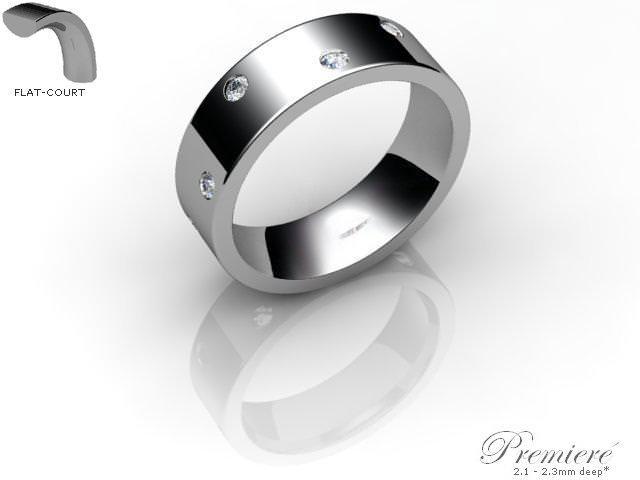 Men's Diamond Scatter 9ct. White Gold 6mm. Flat-Court Wedding Ring