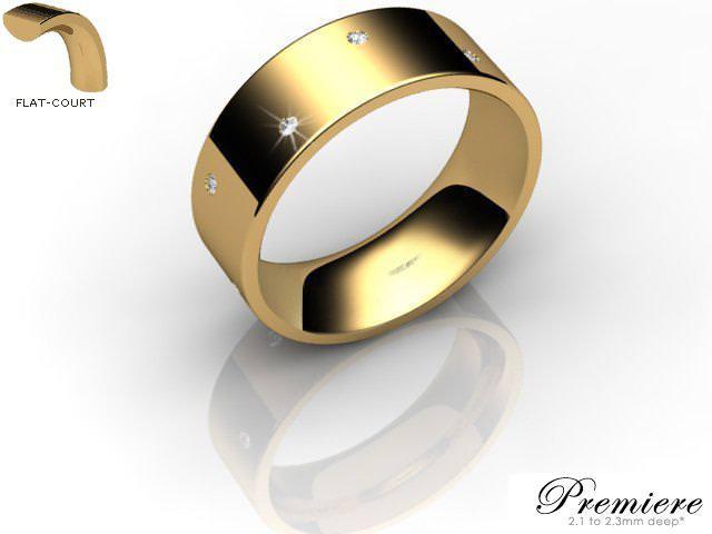 Men's Diamond Scatter 9ct. Yellow Gold 7mm. Flat-Court Wedding Ring