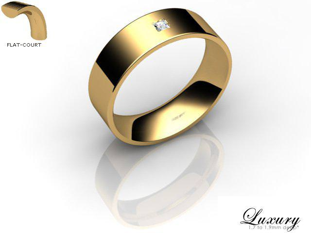 Men's Single Diamond 9ct. Yellow Gold 6mm. Flat-Court Wedding Ring