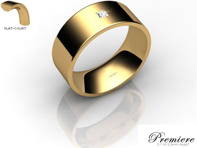 Men's Single Diamond 9ct. Yellow Gold 8mm. Flat-Court Wedding Ring
