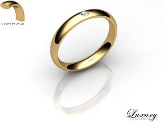 Women's Single Diamond 9ct. Yellow Gold 3mm. Court Wedding Ring-9YG1XRD-3CHL