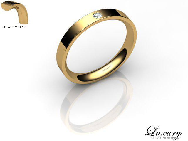 Men's Single Diamond 9ct. Yellow Gold 3mm. Flat-Court Wedding Ring